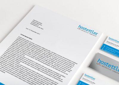 Logodesign, Briefpapier und Visitenkarten W. Hostettler AG