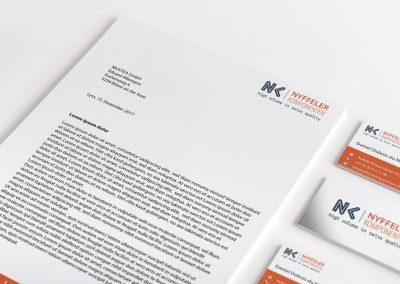 Logodesign, Briefpapier und Visitenkarten Nyffeler Komponenten AG
