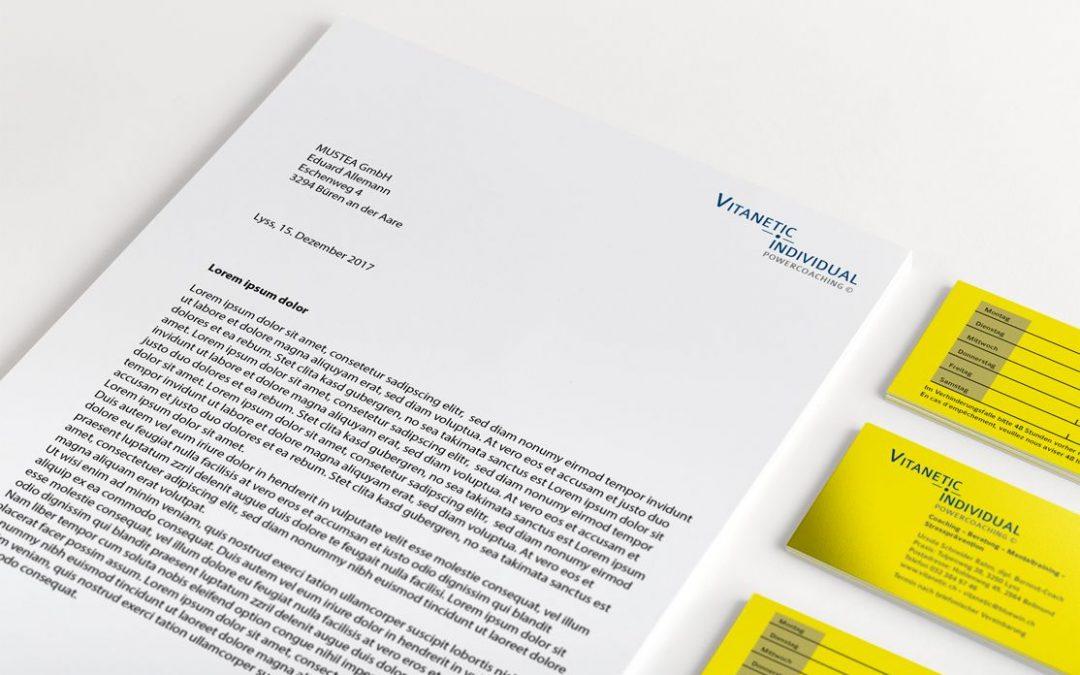 Logodesign, Briefpapier und Visitenkarten Vitanetic, Power Coaching